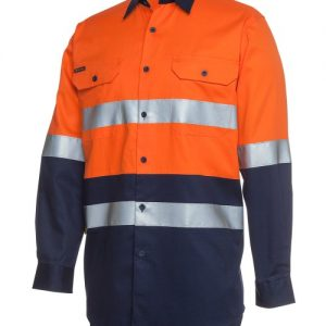 JB's Hi Vis Long Sleeve (D+N) 150G Work Shirt
