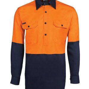 JBs Hi Vis Long Sleeve 190G Front Close Shirt