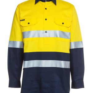 JB's Hi Vis (D+N) Close Front Long Sleeve Shirt 190G