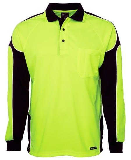JBs Workwear Hi Vis Long Sleeve Arm Panel Polo
