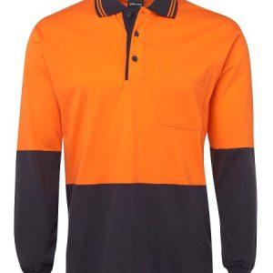 JBs Hi Vis Long Sleeve Cotton Polo
