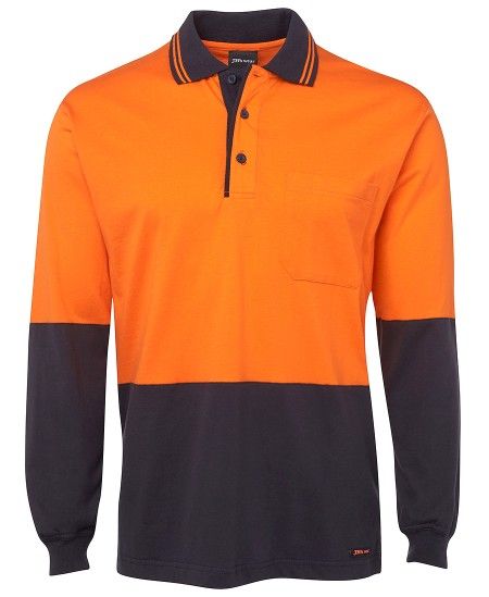 JBs Workwear Hi Vis Long Sleeve Cotton Polo