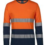 JBs Workwear HV (D+N) L/S Crew Neck Cotton T-Shirt