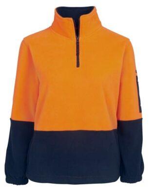 JBs Workwear Hi Vis Ladies 1/2 Zip Polar