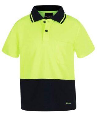 JBs Workwear Kids Hi Vis Non Cuff Traditional Polo