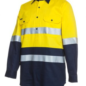 JBs Hi Vis (D+N) Close Front Long Sleeve Shirt 190G