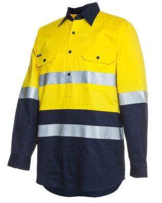 JBs Workwear Hi Vis (D+N) Close Front Long Sleeve Shirt 190G