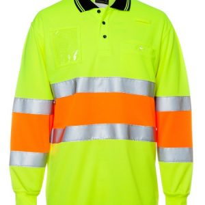 JBs Hi Vis Bio Motion (D+N) Long Sleeve Polo With 3M Tape