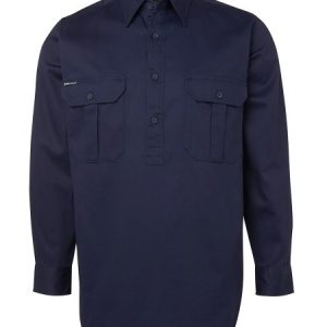 JBs Long Sleeve 190G Close Front Work Shirt