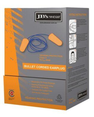 JBs Workwear Bullet Shaped Corded Earplug (100Pr)