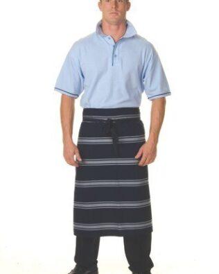 DNC Hospitality Workwear Blue & White Stripe 3/4 Apron No Pocket