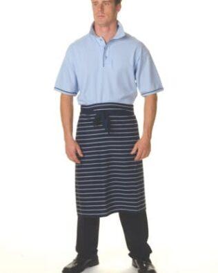 DNC Hospitality Workwear Pinstripe 3/4 Apron No Pocket