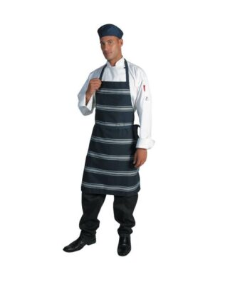 DNC Hospitality Workwear Blue & White Stripe Bib Apron – No Pocket