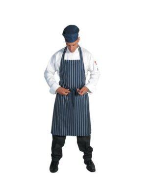 DNC Hospitality Workwear Pinstripe Full Bib Apron No Pocket