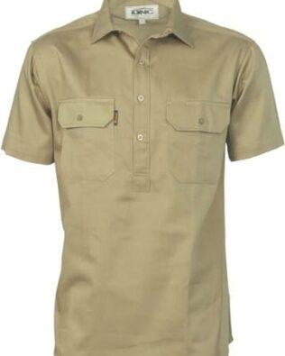 DNC Workwear Cotton Drill Close Front Work Shirt Short Sleeve