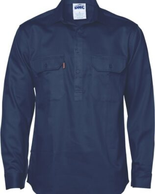 DNC Workwear Close Front Cotton Drill Shirt Long Sleeve