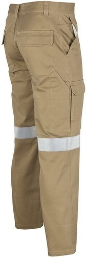 DNC Workwear Cotton Drill Cargo Pants With 3M Reflective Tape