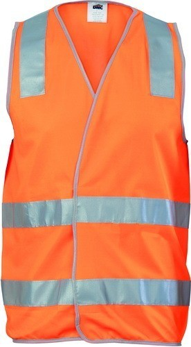 DNC Workwear Day/Night Safety Vest with Hoop & Shoulder Generic Reflective Tape