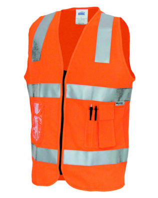 DNC Workwear Day/Night Side Panel Safety Vest with Generic Reflective Tape