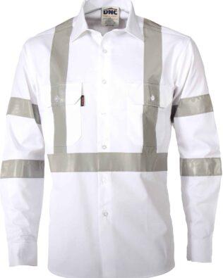 DNC Workwear RTA Night Worker White Shirt with CSR Reflective Tape