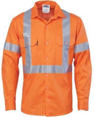 DNC Workwear Cotton Shirt X Back CSR T Long Sleeve