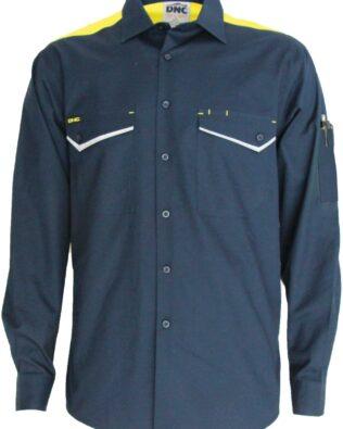 DNC Workwear RipStop Cool Cotton Tradies Shirt Long Sleeve