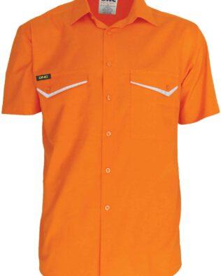 DNC Workwear Hi Vis RipStop Cotton Cool Shirt Short Sleeve