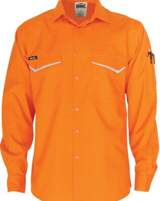 DNC Workwear Hi Vis RipStop Cotton Cool Shirt Long Sleeve