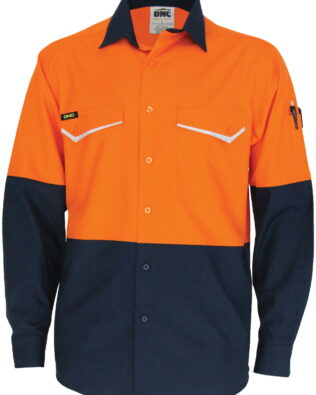 DNC Workwear Two-Tone RipStop Cotton Cool Shirt Long Sleeve