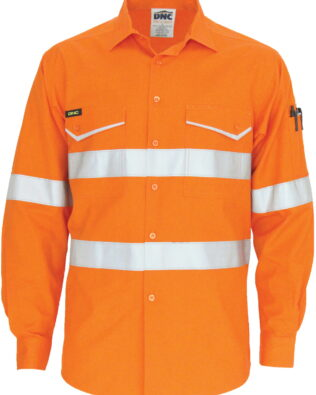 DNC Workwear RipStop Cotton Cool Shirt with CSR Reflective Tape Long Sleeve