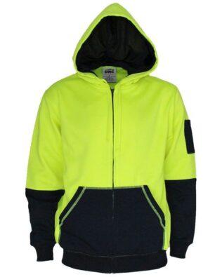 DNC Workwear Hi Vis 2 tone full zip super fleecy hoodie
