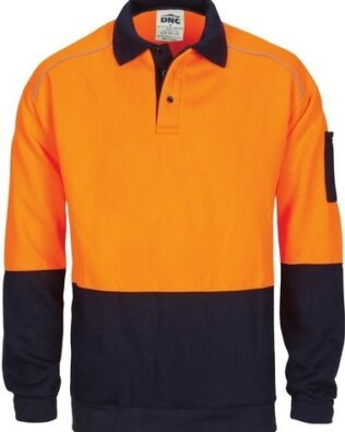 DNC Workwear Hi Vis Rugby Top Windcheater with Two Side Zipped Pockets