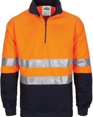 DNC Workwear Hi Vis 1/2 Zip Fleecy with Hoop Pattern CSR Reflective Tape