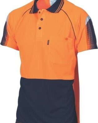 DNC Workwear Hi Vis Cool-Breathe Sublimated Piping Polo Short Sleeve