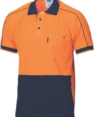 DNC Workwear Hi Vis Cool-Breathe Double Piping Polo Short Sleeve
