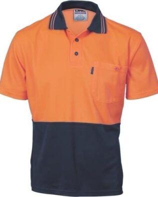DNC Workwear Cotton Back Hi Vis Two Tone Fluoro Polo Short Sleeve