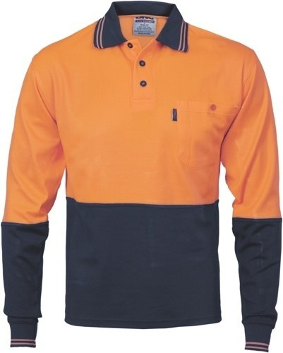 DNC Workwear Cotton Back Hi Vis Two Tone Fluoro Polo Long Sleeve