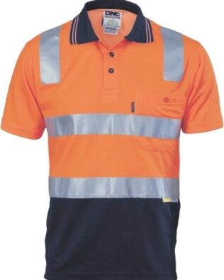 DNC Workwear Cotton Back Hi Vis Two Tone Polo Shirt with CSR Reflective Tape Short Sleeve