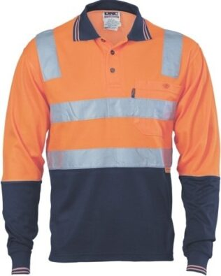 DNC Workwear Cotton Back Hi Vis Two Tone Polo Shirt with CSR Reflective Tape Long Sleeve