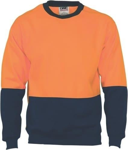 DNC Workwear Hi Vis Two Tone Fleecy Sweat Shirt (Sloppy Joe) Crew-Neck