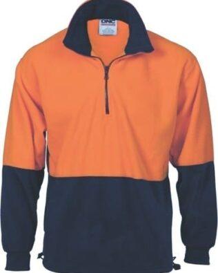 DNC Workwear Hi Vis Two Tone 1/2 Zip Polar Fleece