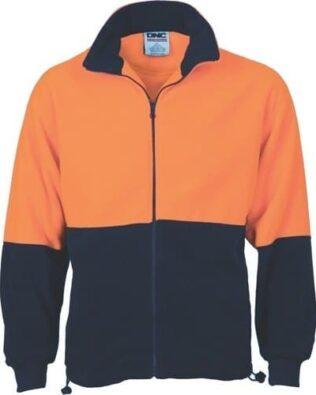 DNC Workwear Hi Vis Two Tone Full Zip Polar Fleece