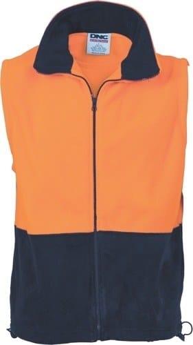 DNC Workwear Hi Vis Two Tone Full Zip Polar Fleece Vest
