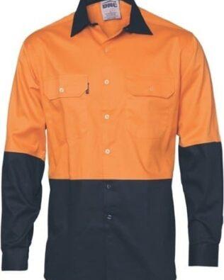 DNC Workwear Hi Vis Two Tone Cotton Drill Shirt Long Sleeve