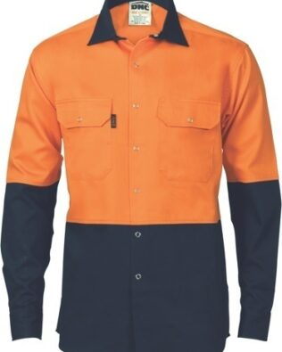 DNC Workwear Two Tone Press Stud Shirt Long Sleeve