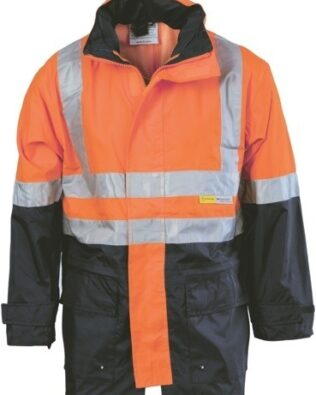 DNC Workwear Hi Vis Two Tone Breathable Rain Jacket with 3M Reflective Tape