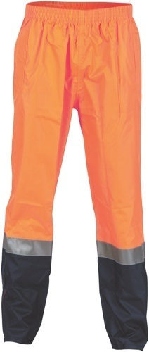 DNC Workwear Hi Vis Two Tone Light weight Rain pants with 3M Reflective Tape