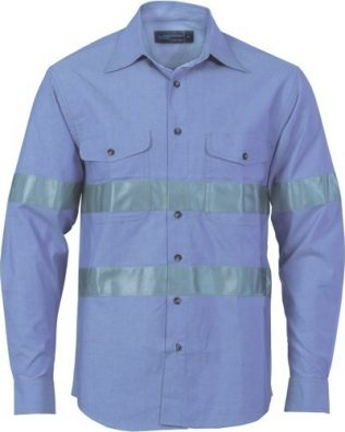 DNC Workwear Cotton Chambray Shirt with Generic Reflective Tape Long Sleeve