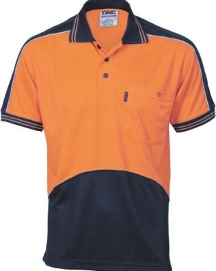 DNC Workwear Hi Vis Cool Breathe Panel Polo Shirt Short Sleeve