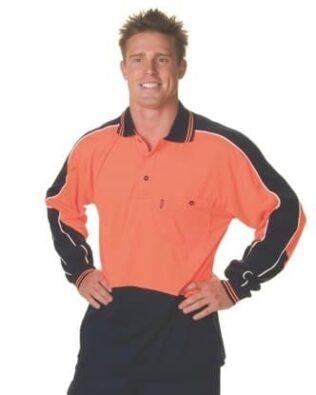 DNC Workwear Hi Vis Cool Breathe Panel Polo Shirt Long Sleeve